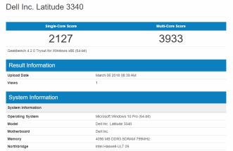 Dell Latitude 3340 - GeekBench CPU
