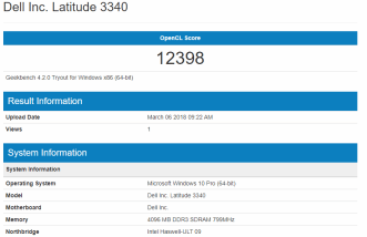 Dell Latitude 3340 - GeekBench OpenCL