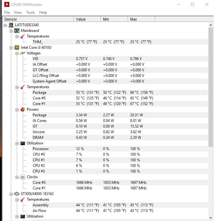 Dell Latitude 3340 - monitorizare temperatura