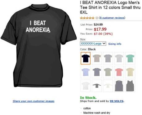 I Beat Anorexia T-Shirt (Small - 6XL)