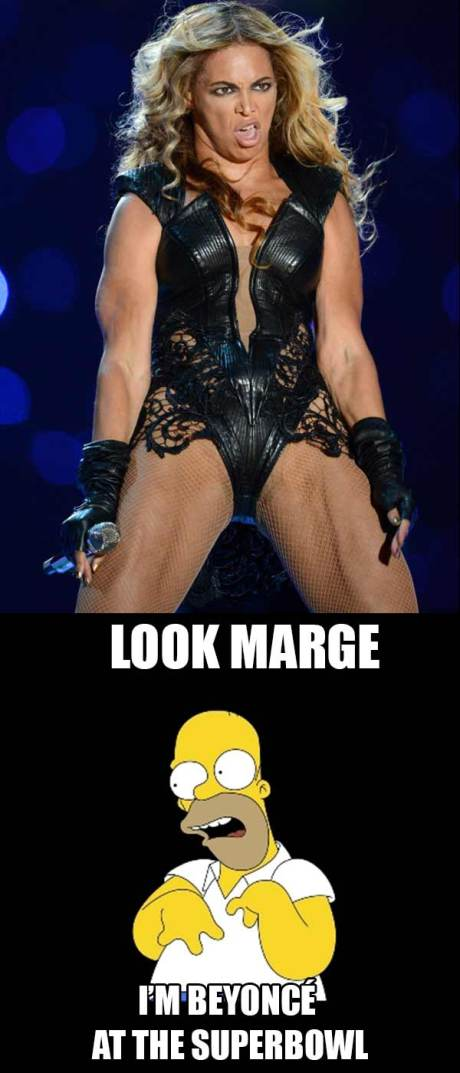 "Homer Simpson: ""Look Marge ... I'm Beyoncé at the Superbowl!"""