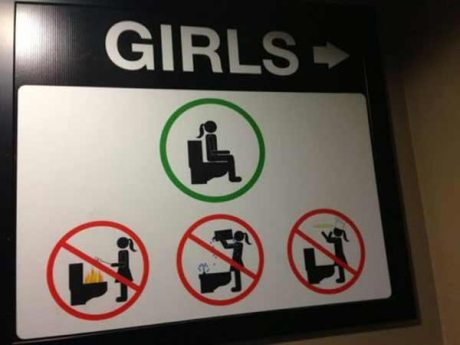 Girl's Restroom: No roasting marshmallows.  No removing the toilet tank.  No making pizza.