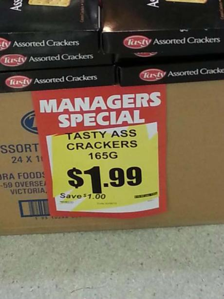 Managers Special: Tasty Ass Crackers 165G - $1.99 - Save $1.000