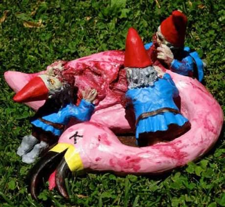 Zombie Garden Gnomes Kill Pink Flamingo