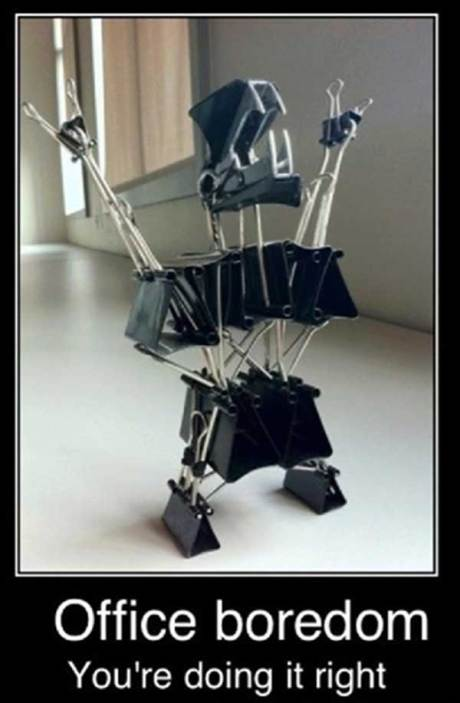 Office Boredom: You're Doing it Right (metal guy made of binder clips)