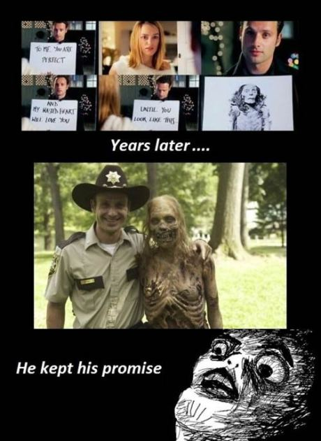 """In the 2003 movie, """"Love Actually,"""" Andrew Lincoln's character proclaimed his love to Keira Knightly's character, saying that he would love her until she looked like """"this"""" --- a dead body.  Seven years later, there's a photo of the famous """"Bicycle Girl"""" Zombie with Lincoln's new character, """"Rick,"""" with his arm around her should.  """"Awww... HE KEPT HIS PROMISE!"""""""