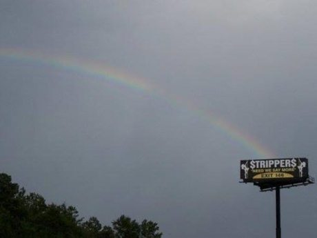 Rainbow ends at Stripper billboard