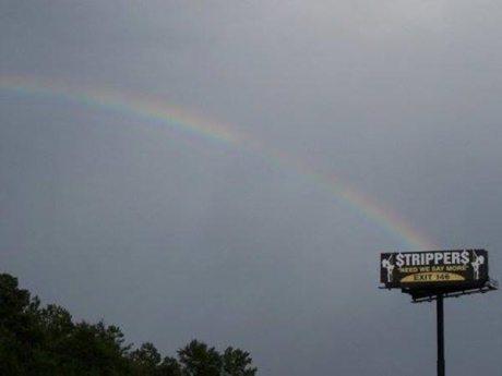 Rainbow ends at Stripper billboard