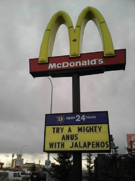 """McDonald's Canada: """"Try a mighty anus with jalapenos"""""""