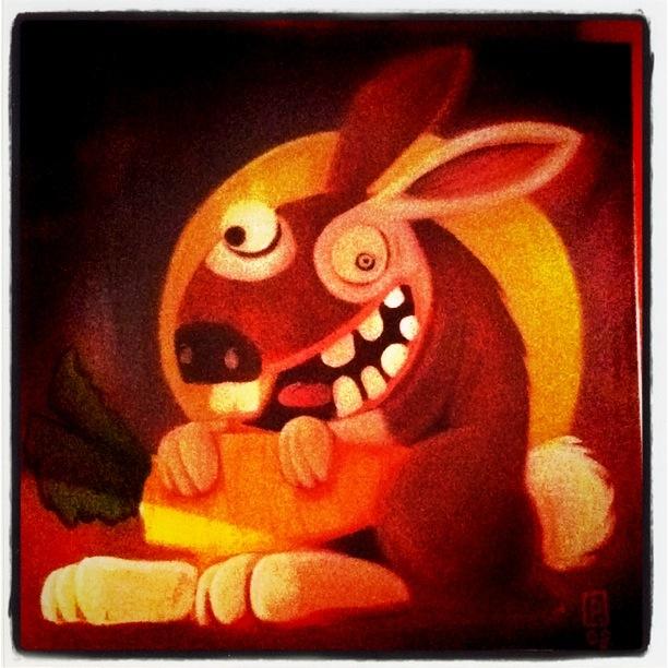 Illustration de lapin fou chez Pommes de terre et Cie Strasbourg