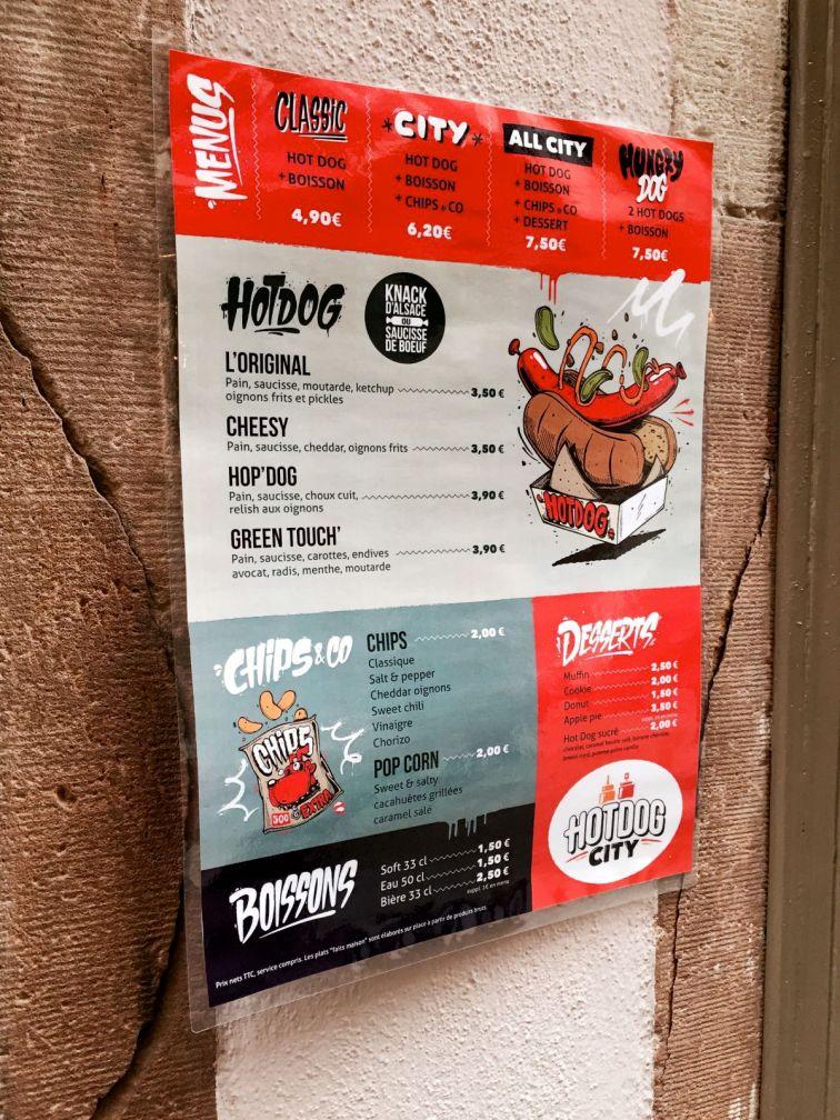 HOT DOG CITY STRASBOURG menu
