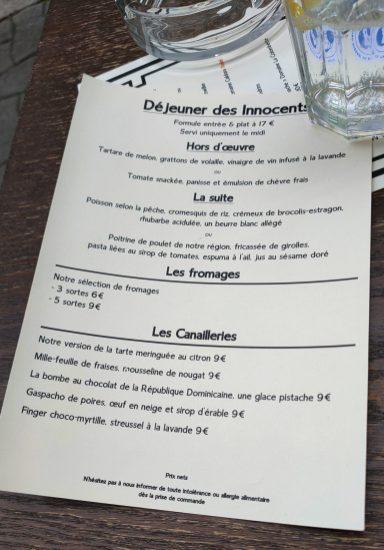 Les innocents restaurant Strasbourg menu