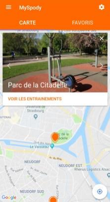MySpody Strasbourg parcs espaces verts application sport fitness