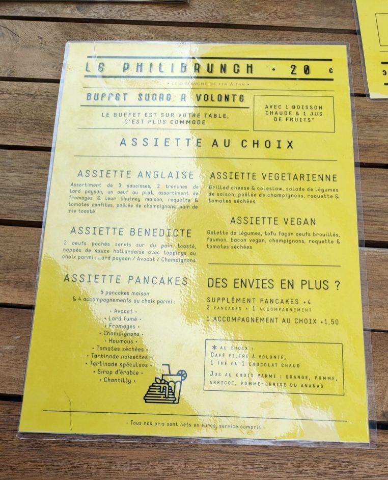 Philibar bar à jeux Strasbourg brunch terrasse menu
