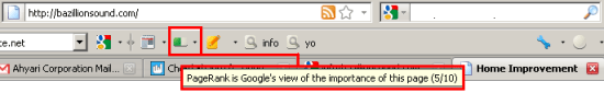 PageRank 5 FAKE di Google Toolbar