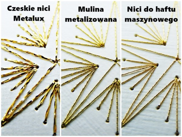 Porównanie haftów wykonanych trzema opisywanymi rodzajami nici