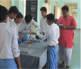 Students of Bidada Kutch, testing the blood group of school mates