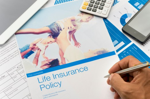 Life insurance brochure with family image