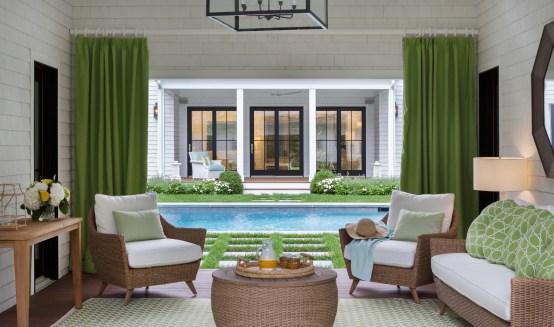 Pool house overlooking scenic Marvin doors