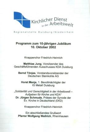 10jähriges Bestehen der Regionalstelle KDA Duisburg-Niederrhein