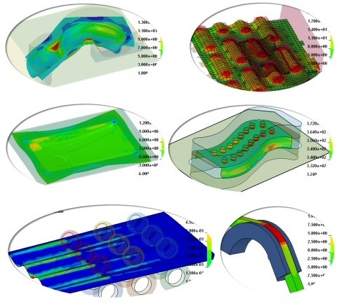 Sheet Metal Forming Simulation, Hot Forming, Roll forming, Stretch and Deep Drawing, Tube bending