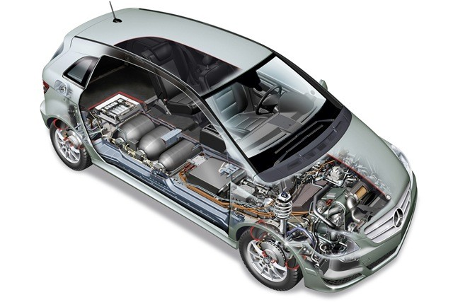 B-Klasse F-CELL-Fuel Cell Powered Electric Vehicles- mercedes-benz-f-cell-car-diagram-fuel-cell-assembly-in-a-car