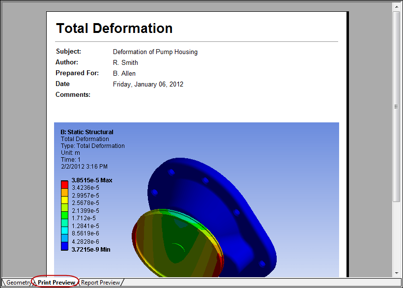 5ec46 01 ansys print preview tab ANSYS ANSYS ANSYS Mechanical Workbench