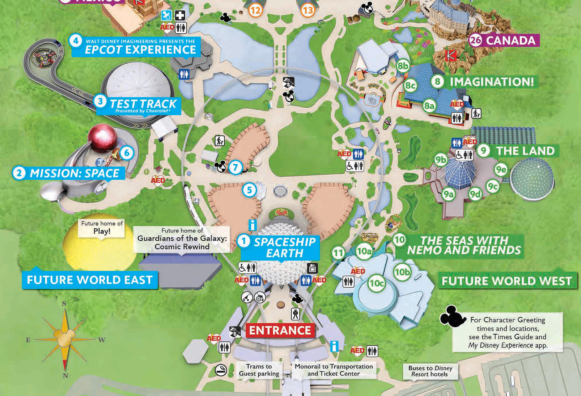 Updated Epcot Guide Map Showcases Future Projects (Space 220 ...