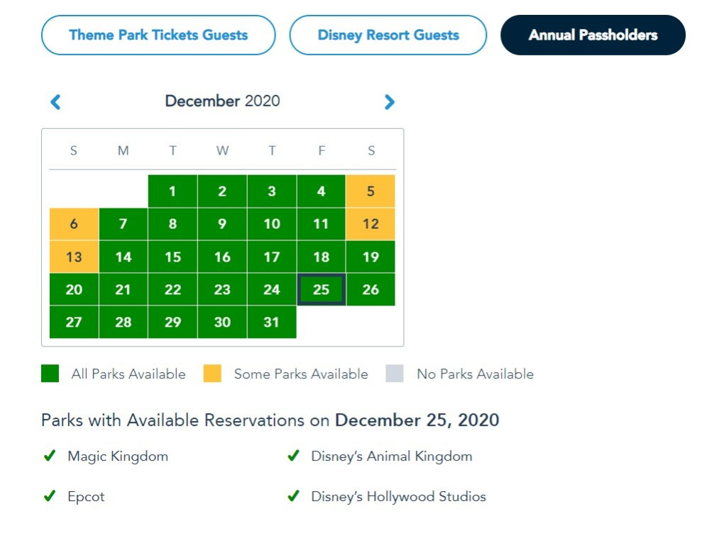 disney park pass christmas day annual pass