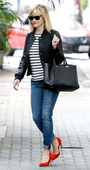 Bomber Jacket Black e Listras - Reese Witherspoon