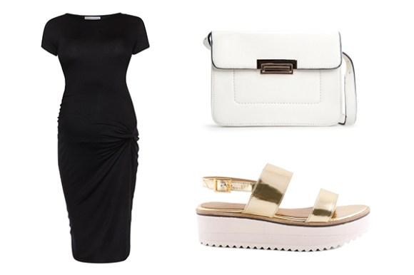 Para uma gravidez com estilo, pode usar alguns artigos como este: mala Mango, vestido Primark e sandália Officina.