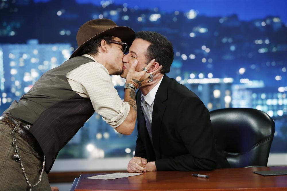 Johnny Depp Can't Stop Kissing Jimmy Kimmel