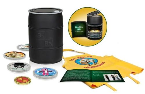 Special Features - Collectible replica money barrel - Over 55 hours of special features from all seasons - All new two-hour documentary - 16 page booklet with letter from Vince Gilligan - Commemorative challenge coin designed by Vince Gilligan - Los Pollos Hermanos apron