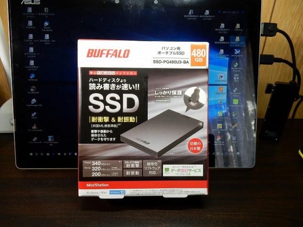 バッファローのポータブルSSD[SSD-PG480U3BA]を導入でございます。