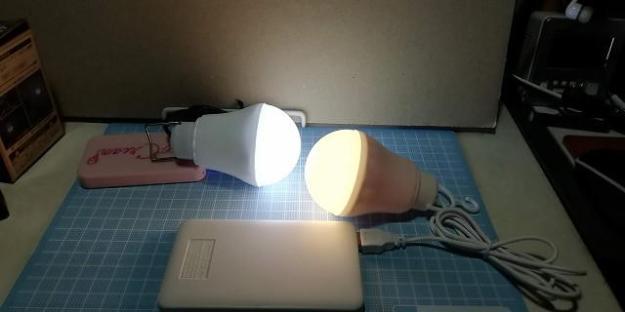 左がセリア、右がダイソーの電球型ライトです。