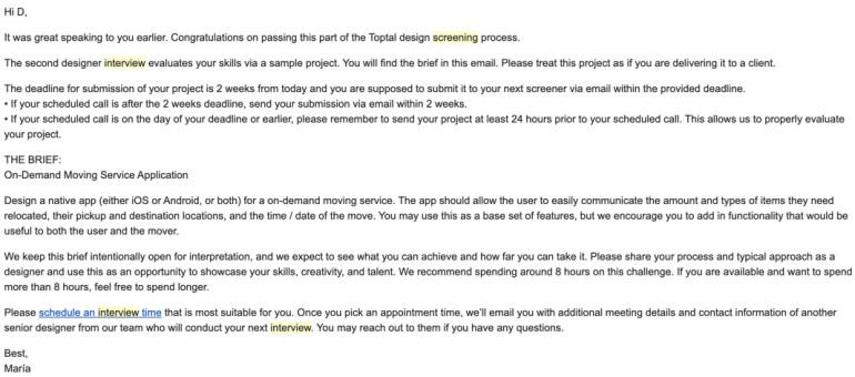 Interview designer toptal