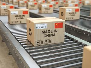 Made in China. Cardboard boxes with text made in China and chine