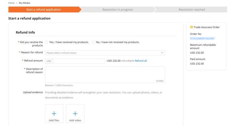 Cara melakukan pengembalian dana di situs alibaba