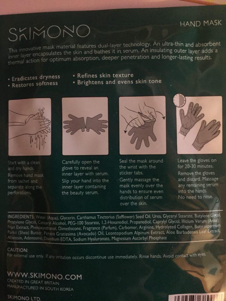 instructions for using skimono hand mask