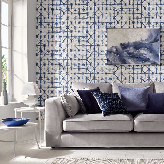 blue and white tie dye style wallpaper