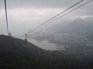 Hong Kong cable cars high up