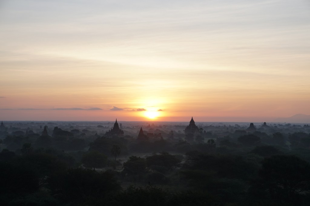 The beautiful sunrise in Bagan