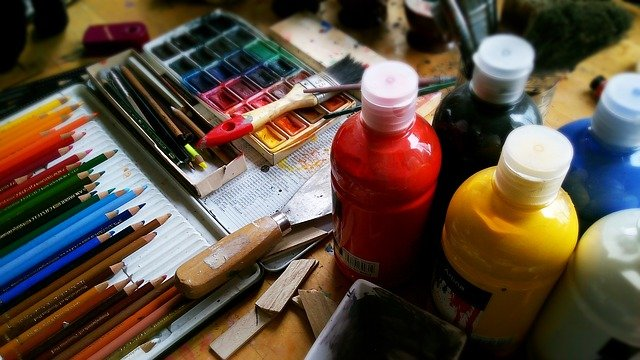 paints, brushes and painting tools