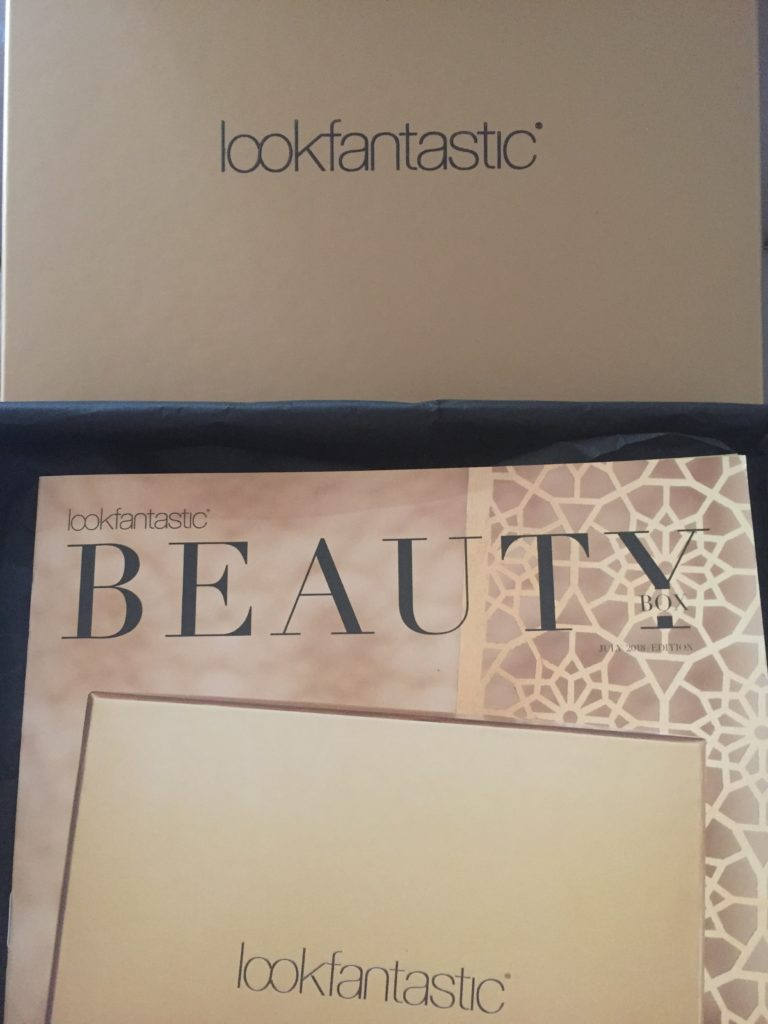 Gold July Look Fantastic box with Beauty leaflet