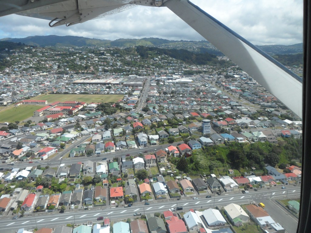 View from take-off of Wellington, buildings and mountains