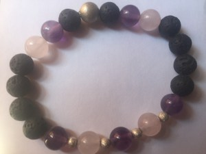 Crystal and lava rock essential oil infused bracelet