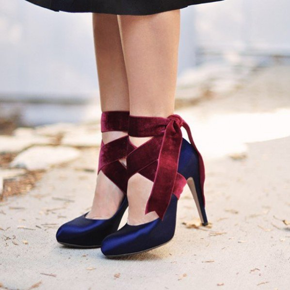 Navy And Burgundy Lace Up Heels Dress Shoes Satin Almond Toe Vintage Pumps