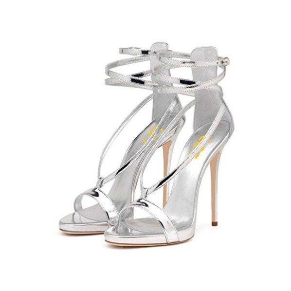 Silver Metallic Heels Open Toe Stiletto Heel Strappy Sandals