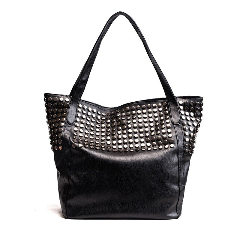 Black Large Tote Bag with Studs