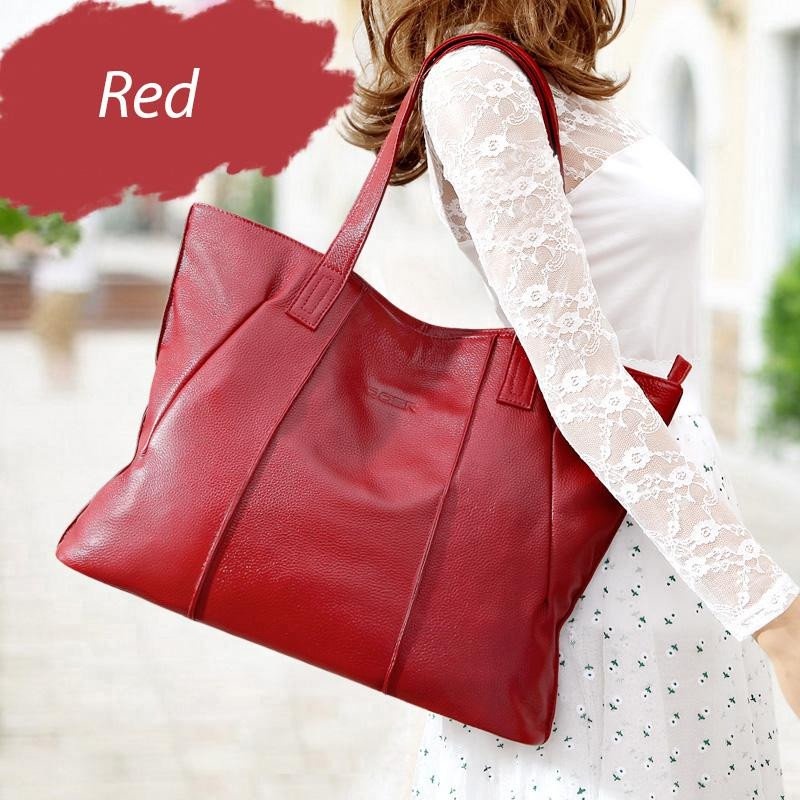 Red Soft Genuine Leather Big Tote Bag